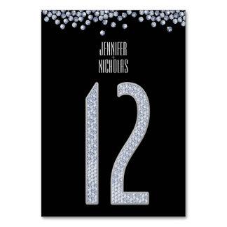 Diamond Glitter Wedding Table Number Twelve Table Cards