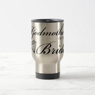 Diamond Godmother of Bride Black 15 Oz Stainless Steel Travel Mug