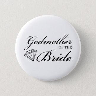 Diamond Godmother of Bride Black 2 Inch Round Button
