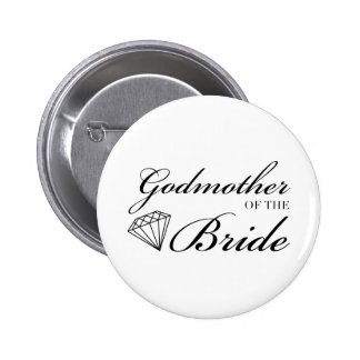 Diamond Godmother of Bride Black 2 Inch Round Button