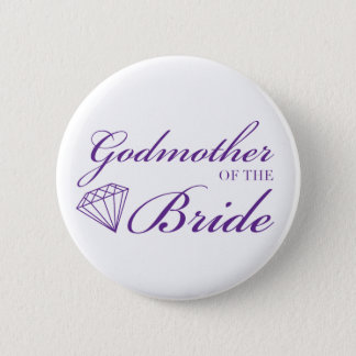Diamond Godmother of Bride Purple 2 Inch Round Button