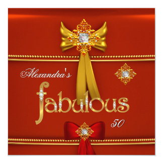 "Diamond Gold Fabulous 50 Regal Red Party 5.25"" Square Invitation Card"