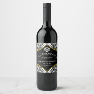 Diamond Gold Wedding Engagement Wine Label