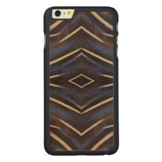Diamond guinea fowl feather design carved maple iPhone 6 plus case