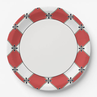 Diamond-Harlequin-Collection-Red-White-Celebration Paper Plate
