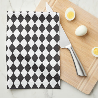 Diamond Harlequin Pattern in Black and White Hand Towels