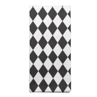 Diamond Harlequin Pattern in Black and White Napkin