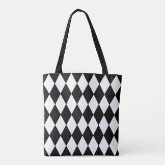 Diamond Harlequin Pattern in Black and White Tote Bag