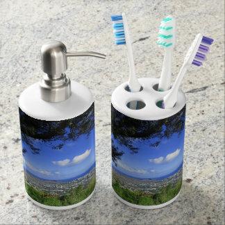 Diamond Head and Waikiki Soap Dispenser And Toothbrush Holder