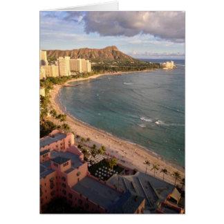 Diamond Head, Waikiki Beach, Hawaii Greeting Card