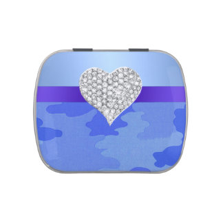 Diamond Heart Blue Camouflage Candy Tin