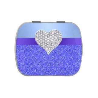 Diamond Heart Blue Glitter Candy Tin