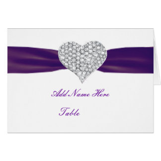 Diamond Heart Dark Purple Wedding Place Card