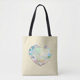 Diamond Heart Ecru Tote Bag