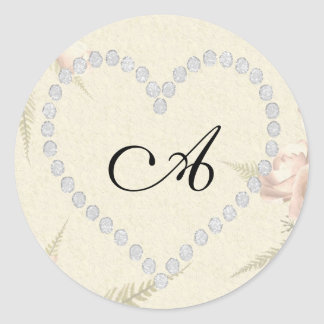 diamond heart letter A add your own Classic Round Sticker