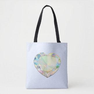 Diamond Heart Pastel Blue Tote Bag