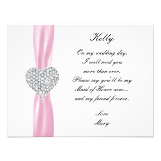 Diamond Heart Pink Wedding Maid Of Honor Card