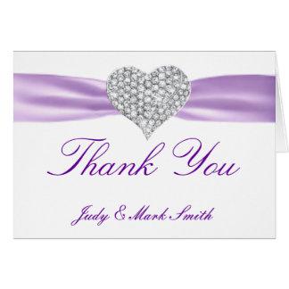 Diamond Heart Purple Wedding Thank You Card
