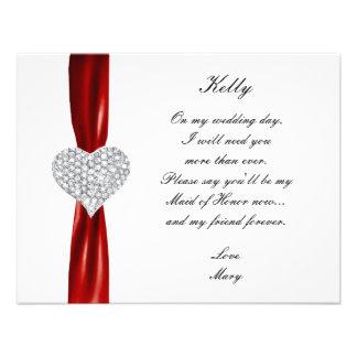 Diamond Heart Red Wedding Maid Of Honor Card