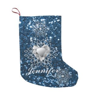 Diamond Heart Snowflakes & Blue Faux Glitter Small Christmas Stocking