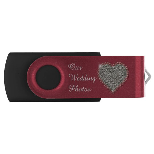 Diamond Heart Wedding Photos Swivel USB Drive Swivel USB 2.0 Flash Drive