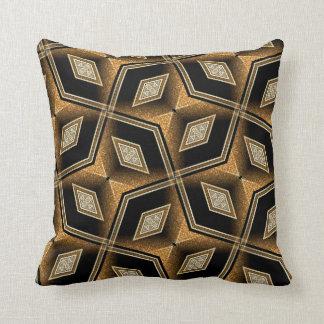 Diamond Illusion Black Gold Abstract Cushion