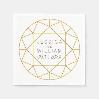 Diamond jewel geometric gold glitter wedding disposable napkin