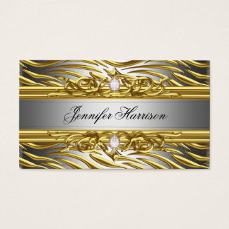 Diamond Jewel Zebra Gold On Gold Silver Elegant Business Card