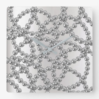 Diamond Jewelry Gray Silver Graphite Metallic Square Wall Clock