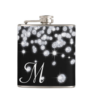 Diamond Jewels Jewelry Glit Monogram Whiskey Flask