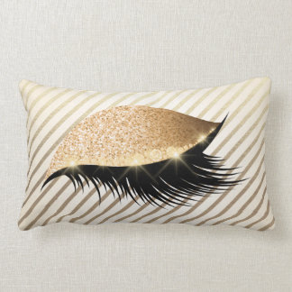 Diamond Lashes Gold Glitter Stripes Pearly Glam Lumbar Pillow