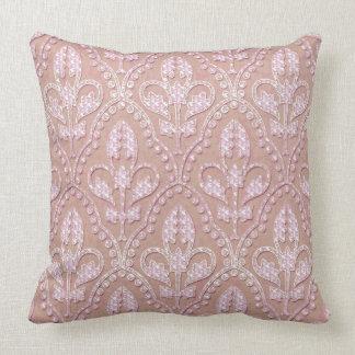 Diamond Lilies Damask  Throw Pillow