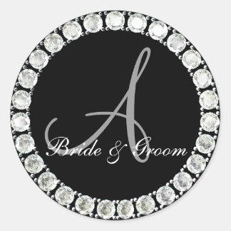 Diamond monogram A customizable seal Round Sticker