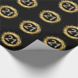 Diamond Number 21 Glitter Bling Confetti | gold Wrapping Paper