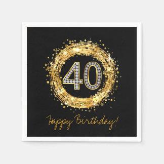 Diamond Number 40 Glitter Bling Confetti | gold Paper Napkins