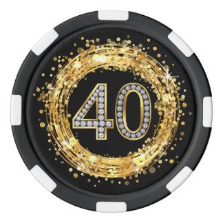 Diamond Number 40 Glitter Bling Confetti | gold Poker Chips