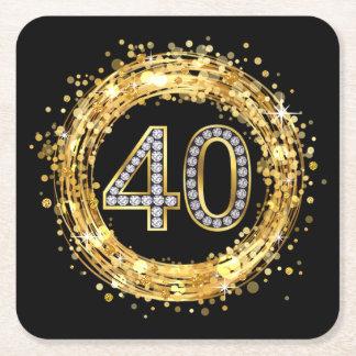 Diamond Number 40 Glitter Bling Confetti | gold Square Paper Coaster