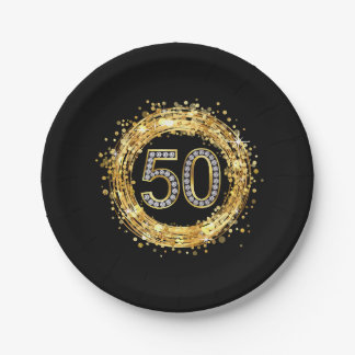 Diamond Number 50 Glitter Bling Confetti | gold Paper Plate