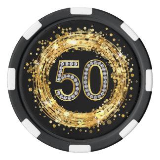 Diamond Number 50 Glitter Bling Confetti | gold Poker Chips