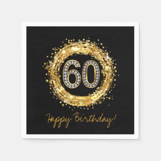 Diamond Number 60 Glitter Bling Confetti | gold Disposable Napkin