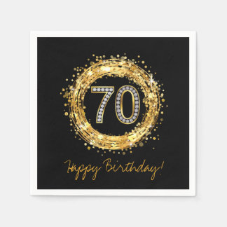 Diamond Number 70 Glitter Bling Confetti | gold Disposable Napkins