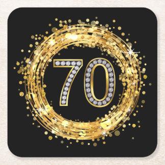 Diamond Number 70 Glitter Bling Confetti | gold Square Paper Coaster