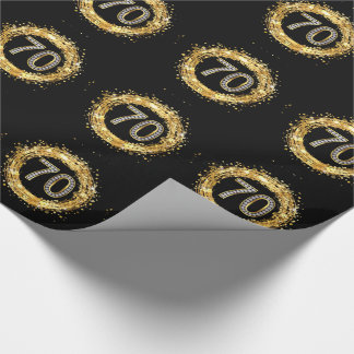 Diamond Number 70 Glitter Bling Confetti   gold Wrapping Paper