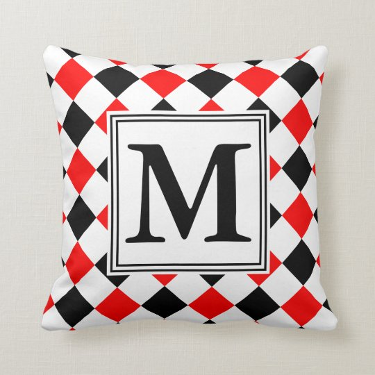 Diamond Pattern #3 Monogrammed Throw Pillow
