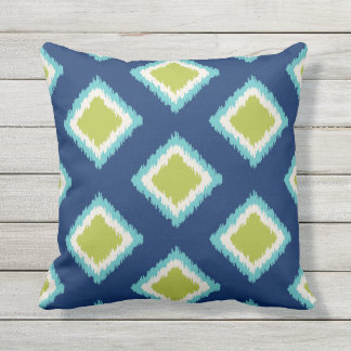 Diamond Pattern | Green and Blue Outdoor Pillow