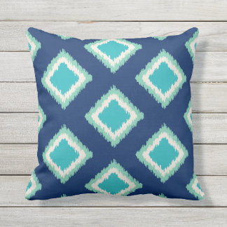 Diamond Pattern | Green and Blue Throw Pillow