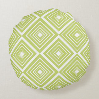 Diamond Pattern Green and White Round Pillow