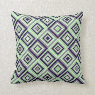 Diamond Pattern Green Purple Gray Throw Pillow