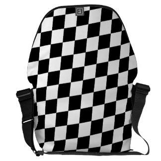 DIAMOND PATTERN in BLACK Messenger Bags