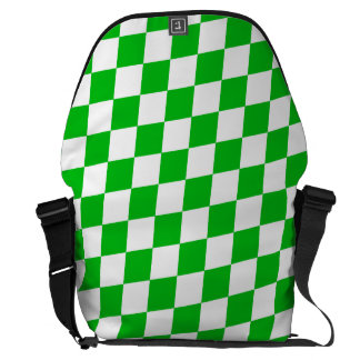 DIAMOND PATTERN in GREEN GREEN ~ Courier Bags